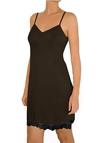 Nylon Full Slip - Popular Women's Non-Cling Silky Smooth Full Slip - Lace Trim Black - L