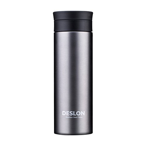 DESLON Grey Water Bottle with Filter Leak Proof Travel Mugs for Women Men Stainless Steel 16 oz Insulation Cup