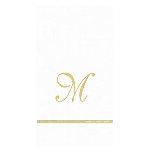 Caspari Hemstitch Script Paper Guest Towel Napkins in Letter M, 30 Napkins Included
