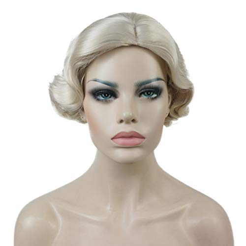 Lydell Vintage Cosplay Party Wig Short Finger Wavy Flapper Hairpiece +Free Wig Cap #614 Pale Blonde