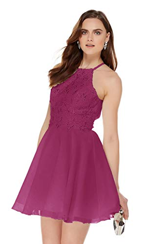 Women's Open Back Beaded Halter Short Prom Dress Chiffon Formal Gown Lace Bodice Hot Pink Size 2