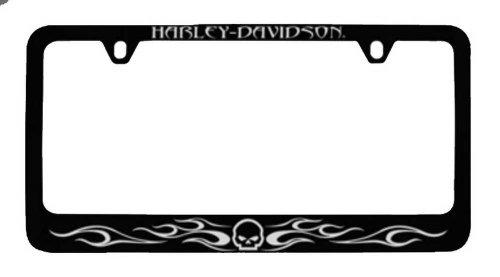 Harley-Davidson Flames Willie G. Skull License Plate Frame Black HDLFZK184