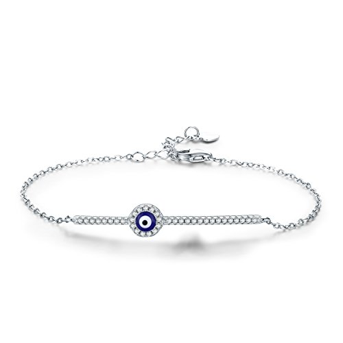 BAMOER 925 Sterling Silver Expandable Lucky Blue Evil Eye Chain Bracelet With Sparkling Cubic Zirconia for Women Girls Style - Style Eye