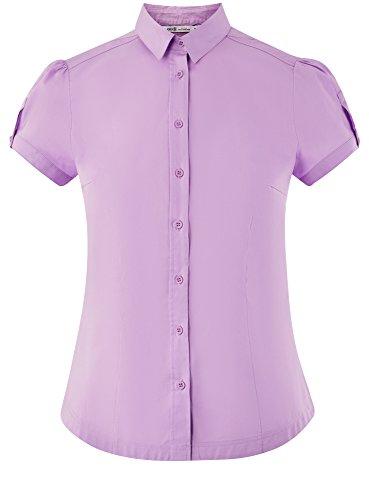 Coton Chemise en Femme oodji Courte 8001n Manche Ultra Violet qnxIn5H