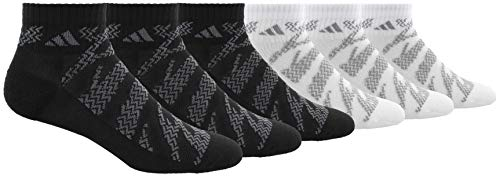adidas Youth Kids-Boys/Girls Tiger Style Quarter Sock (6-Pair), Black/Onix White/Light Onix, Large, (Shoe Size 3Y-9)