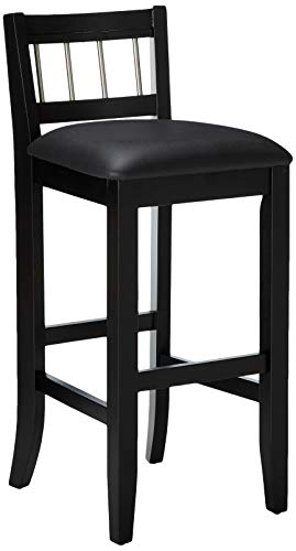 Stool Seat Finish - Home Style 5123-89 Manhattan Pub Stools with Stainless Steel Accents, Black Finish, 31-Inch Seat Height