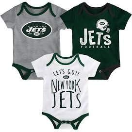 Outerstuff New York Jets 幼児用 3ピース チームロゴ入りクリーパーセット