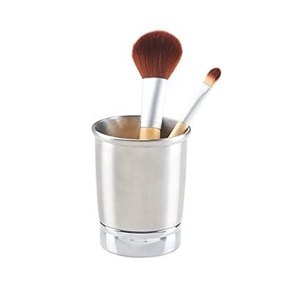 mDesign Portacepillos de dientes – Vaso de metal para enjuague bucal – Soporte para cepillos de