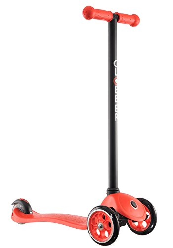 Globber 3 Wheel Kick Scooter with Patented Steering Lock and Optional LED Light Up Wheels (Red/Black) (Bearing Spring Loaded)