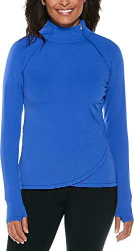 Coolibar UPF 50+ Women's Surfside Rash Guard - Sun Protective (Small- Baja Blue) (Chlorine Proof Swim Top)