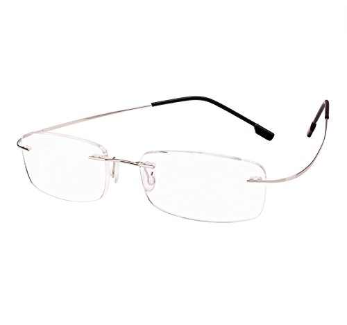 Beison Memory Titanium Stainless Steel Rimless Flexible Reading Glasses (Silver, 2.5)