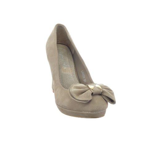 Sopily - Zapatillas de Moda Tacón escarpín Zapatillas de plataforma Classic Tobillo mujer nodo Talón Tacón ancho 9.5 CM - Caqui