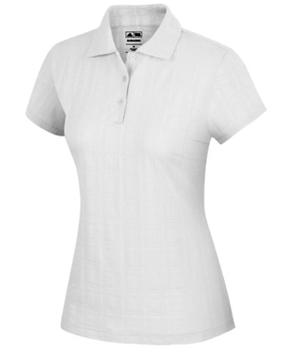(adidas Golf Women's climacool Plaid Textured Polo - white - X-Small)
