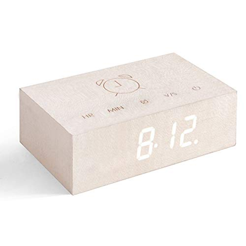 (Gingko Flip Click Clock LED Alarm Clock Sound Activated with New Flip Technology, Rechargeable with Laser Engraved Touch Controls, White Maple)