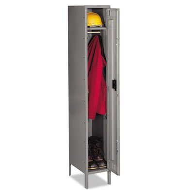 Single Tier Locker with Legs, 12w x 18d x 78h, Medium Gray, Sold as 1 Each (Tennsco Single)