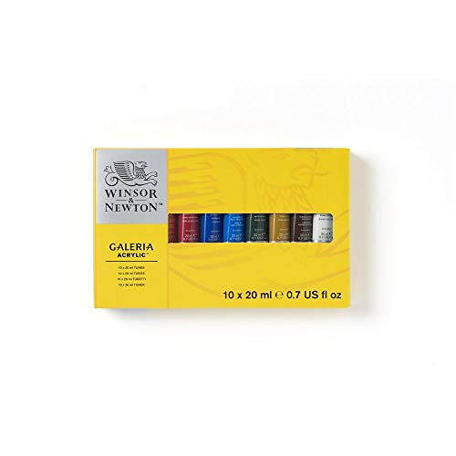 Winsor & Newton Acrylic Paint 20ml 10/Pkg, Assorted Colors, Tube Set, Multicolor (Best Quality Paint For The Price)