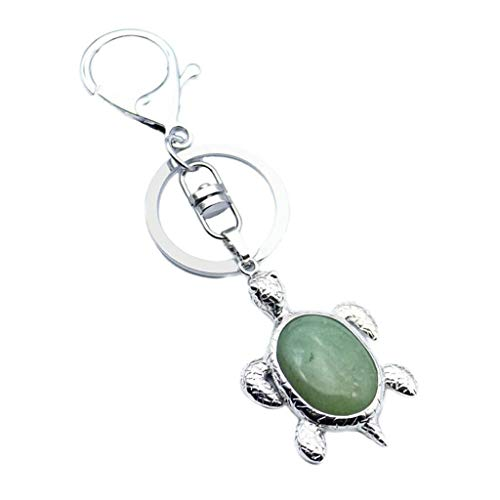 Car Keychain Key Ring Sea Turtle Handbag Animal Pendant Charm Cell Phone (Color - Green Aventurine)