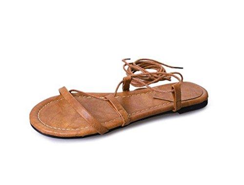mujer mujer Zapatos de 38 Sandalias brown Toe huecas Vendaje para XIE mujer sexy Roman de 35 Zapatos Open Sandalias wgnfXpq