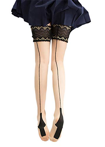 RICHTOER Women's Fishnet Suspender Stockings Hold-Up Thigh Highs Hosiery