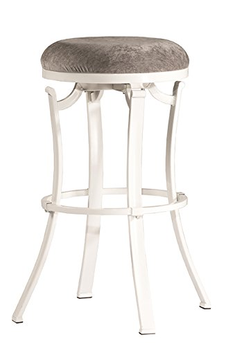 Hillsdale Fabric Bar Stool - Hillsdale 4488-827 Kelford Backless Swivel Stool, Counter, White/Gray