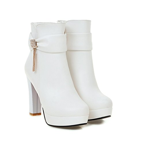 BalaMasa Womens High-Heels Zipper Platform Chunky Heels Urethane Boots ABL09589 White aHJjY1