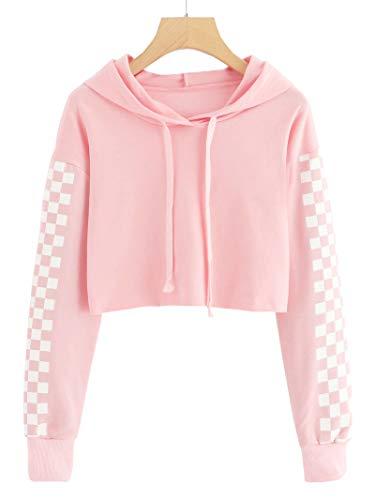 (Hestenve Baby Girls Cute Crop Top Hoodie Plaid Cropped Sweatshirts Jumper for 4-12Years Pink)