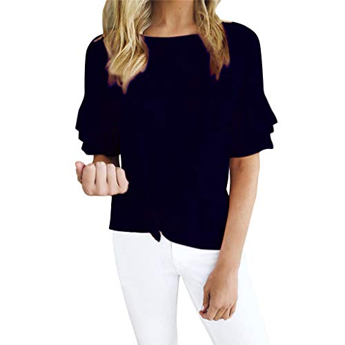 BingYELH Women's Casual Short Sleeve Knot Tie Front Loose Fit Top Tee T-Shirt Blouses High Low Babydoll Peplum Tops Blouse Navy ()