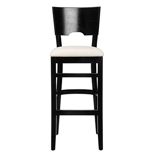White Wood Unfinished Bar Stool - Modern & Contemporary Solid Beechwood Bar Stool-Armless Upholstered Solid Wood Footrest-Excellent Workability and Durable Material (Black Finish)