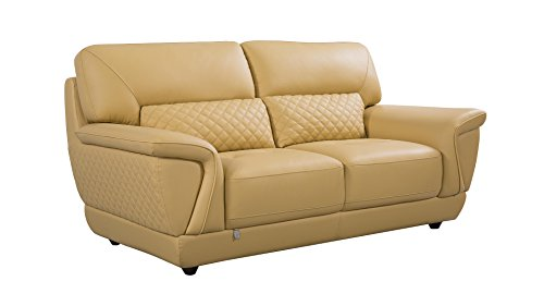 American Eagle Furniture EK099-YO-LS Bell Mid-Century Modern Italian Leather Living Room Loveseat, 73