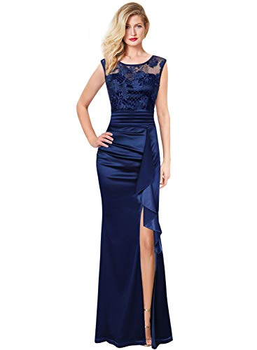 VFSHOW Womens Navy Blue Formal Ruched Ruffles Floral Embroidered Evening Wedding Maxi Dress 666 BLU L
