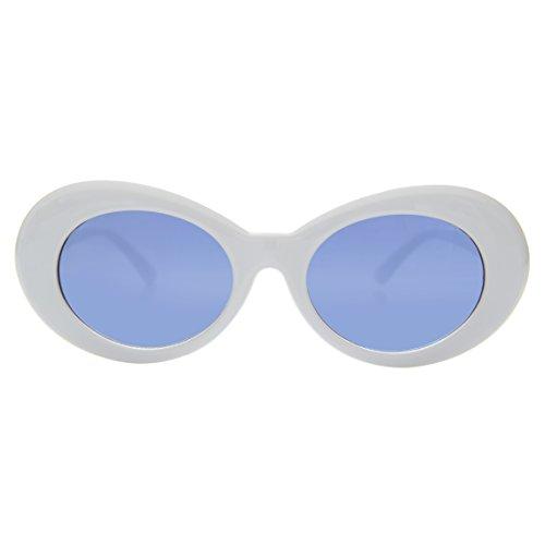 White Clout Sunglasses with Blue - Sunglasses Lulu
