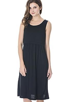 Bearsland Women's Sleeveless Maternity Dress Nursing Breastfeeding Dresses with Pockets