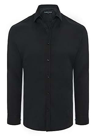 Tarocash Men's Linton Stretch Non Iron Shirt Black Xs Polyester Blend Regular Fit Long Sleeve Sizes XS-5XL for Going Out Smart Occasionwear