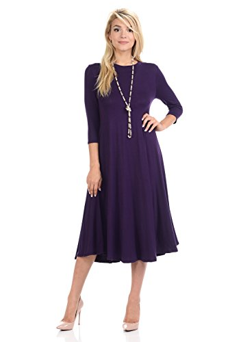 Sleeve 3/4 Trapeze - iconic luxe Women's A-Line Swing Trapeze Midi Dress Large Eggplant