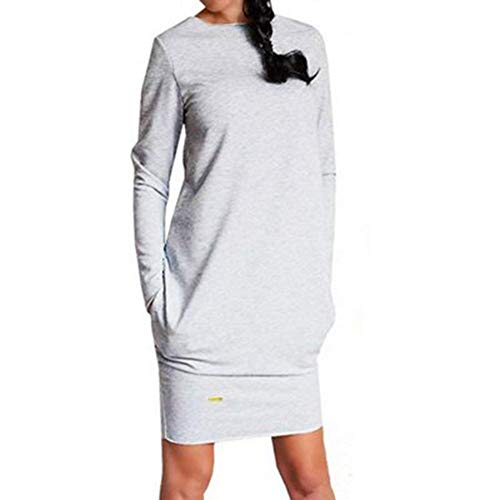Robe Femme lgant Automne d'hiver Elgante Manches Longues Rond Col Pulli Robe Chemisier Uni Manche Loisir Fille Vtements Mode Robe Mini Robe Chemise Robe T Shirt Hellgrau