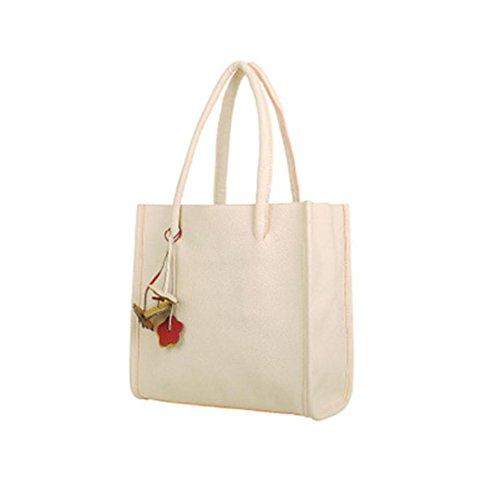 LHWY Las Mujeres de Color Caramelo Flores Bolsos Cuero Bolso Blanco