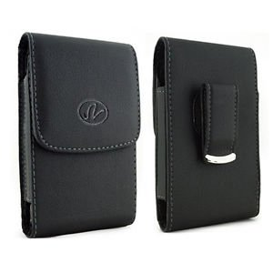 Black Vertical Leather Belt Clip Case Pouch Cover for Motorola MOTOGO! EX431G