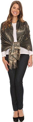 Sakkas 16115 - Kendall Long Extra Wide Floral Paisley Patterned Pashmina Shawl / Scarf - Black / Beige - OS