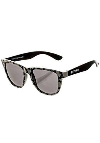 DC Comics Batman Logo Patterned Wayfarer Sunglasses, Black/Gray , Dark - Sunglasses For Dc Women