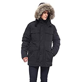 Rokka&Rolla Men's Lined Hooded Thickened Insulated Winter Parka Jacket Anorak Puffer Coat with Removable Faux Fur Trim