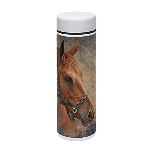 - ALAZA Vintage Red Horse Portrait Art Vacuum Insulated Thermos Stainless Steel Travel Water Beverage Mug Kettle Bottle Cup 7.5 Oz