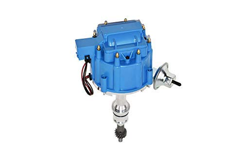 A-Team Performance HEI Complete Distributor 65K Coil Small Block Compatible With Ford 260 289 302 5.0 One-Wire Instillation Blue Cap