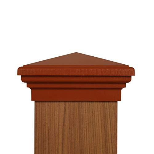6x6 Post Cap - (Nominal) Cedar Color Pyramid Top - with 10 Year Warranty ()