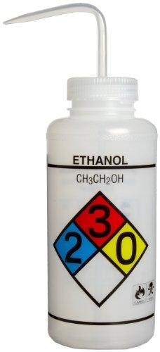 Bel-Art Safety-Labeled 4-Color Ethanol Wide-Mouth Wash Bottles; 1000ml (32oz), Polyethylene w/Natural Polypropylene Cap (Pack of 4) (F11732-0019) ()