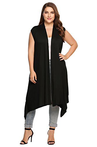Zeagoo Womens Plus Size Lightweight Sleeveless Draped Open Cardigan Vest Black 16W-30W, Black, 24 Plus