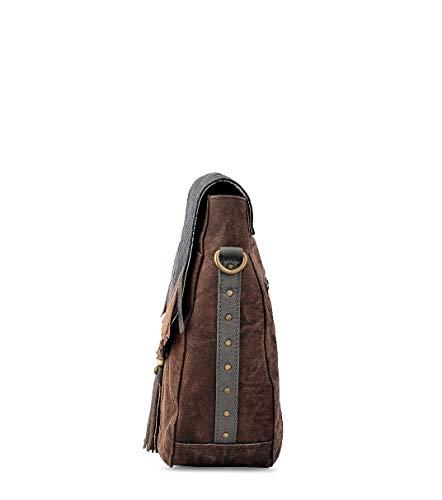 Messenger Daphne by Shoulder Work Sling Purse Hobo Crossbody Travel Leather Trendy Canvas handbag Vintage Trims Design FnHZaqTwY