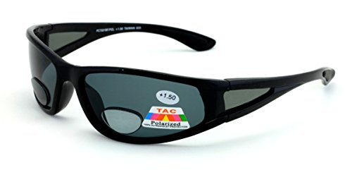 Mens Polarized fly fishing sunglasses with Rx magnification bifocal lens readers (Black/Black Lens, +2.50 - Fishing Sunglasses Bifocals With