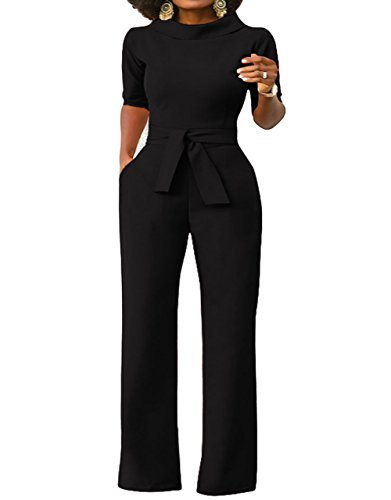 ThusFar Women's Sexy Turtleneck Solid Jumpsuits Wide Leg Long Romper Pants With Belt Black L - Black Cotton Suit