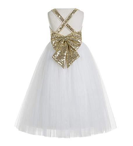 ekidsbridal Crossed Straps A-Line Flower Girl Dresses Junior Bridesmaid Dress Formal Dresses 177 6 Gold/Ivory