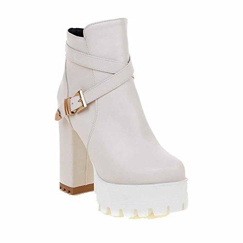 AgooLar Damen Wasserdicht Plattform Hoher Absatz Rund Zehe Rein Reißverschluss Stiefel Cremefarben